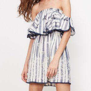NWT Misa LA Belu Striped Ruffle Off Shoulder Dress